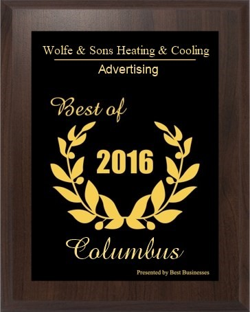 Wolfe & Sons Heating and Cooling Best of Columbus 2016 Advertising