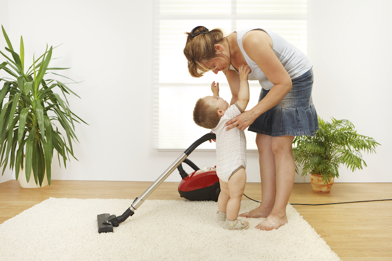 Vacuuming carpet to improve air quality